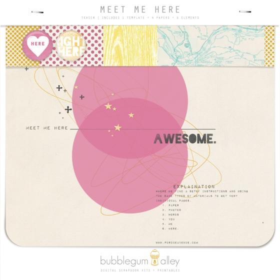 Bubblegum Alley Meet Me Here kit teaser by Mandi Miles